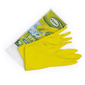 Перчатки резиновые плотные (пара) с х/б напылением, желтые, размер L
