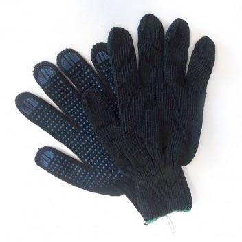 Перчатки х/б с ПВХ 10кл. КЛАССИКА черные 4 нити (10 пар)