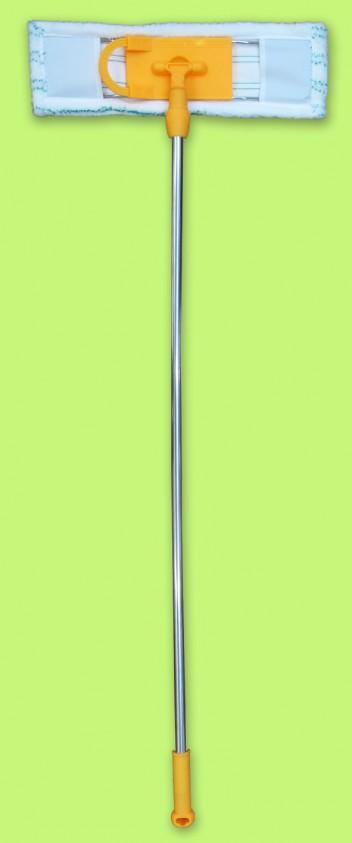 """Швабра Флеттер с рычажком """"Умничка"""" KF-P013, насадка м/фибра-полосатая, нетелеск.ручка хром 110см МП"""