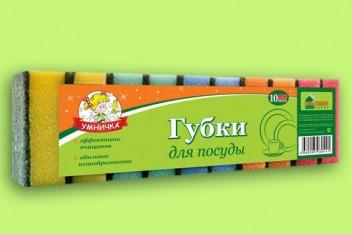 """Губка д/посуды """"Умничка"""" MAXI (10) Флексопечать МП"""