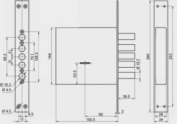 Замок врезной ЗВ8-8К5П/15.3Ш (71622) BORDER