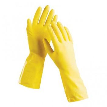 Перчатки хозяйственные (Лотос) латекс, высший сорт/ворсовая подложка L