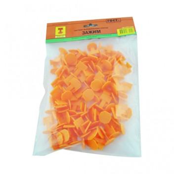 Зажим д/плит. оранжевый 100 шт. DECOR